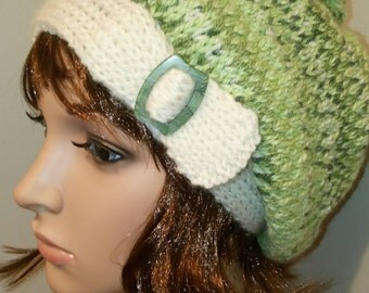 Women's Winter Slouch Hat Beret-  Pounamu - one size from 9-90 years