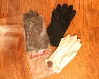 3 Vintage Gloves - Leather/Nylon/Cotton