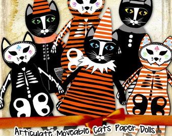CAT PAPER DOLL digital altered art - Digital collage sheet halloween journal page scrapbooking  - instant download printable - pp308