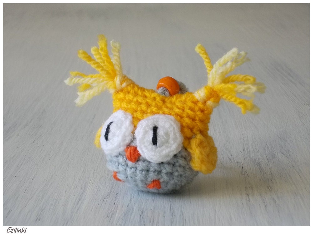 Amigurumi Owl Keychain : Cute Owl Keychain Amigurumi Bird Crochet Owl Yellow by ...