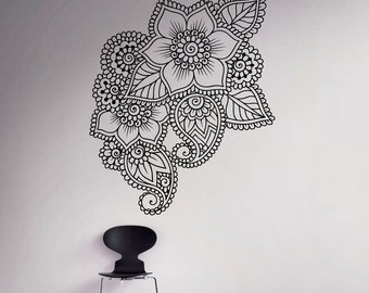 Abstract Flowers Mehndi Wall Vinyl Decal Henna Indian Ornament Wall Sticker Indian Religions Home Decor Paisley Housewares 16(mhi)