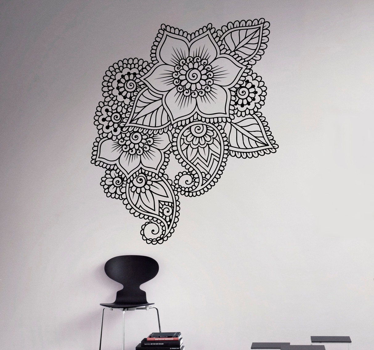 Mehndi Wall Decoration : Abstract flowers mehndi wall vinyl decal henna indian ornament