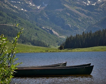 Canoes on Piney Lake with Gore Range print. Canvas photo print. Canvas Photography. Wall Art. 8x10, 11x14, 16x20, 20x24.