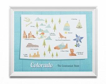 State map poster, Colorado state print, retro map illustration, vintage travel art, retro desert art, children's travel art, map wall art