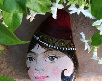 Girl Portrait (Sadaf) on Stone, Painting on Rock, Face Painting on Stone