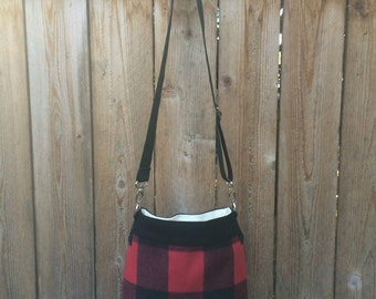 Wool Cross Body Bag - Upcycled Bag -Wool Leather Crossbody Bag -Womens Handbag - Black Leather Bag - Red Black Womens Bag - Recycled Fashion