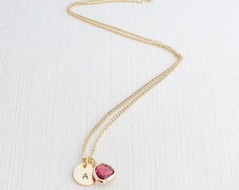 Gold Initial and Ruby Necklace, Disc Necklace, Hand Stamped on Disc, Personalised Jewellery, Gold Plated Necklace, Gift idea