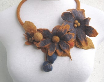Felt flowers necklace Wool flowers Felt statement necklace Felted necklace Yellow blue necklace Wool necklace Yellow brown necklace