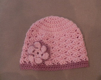 Handmade Crochet Pink & Rose Flower Hat / Photo Prop