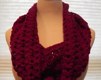 Handmade Crochet Cranberry Red Textured Open weave Cowl / Neckwarmer