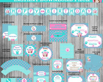 Dog Party Instant Download Package, Puppy Pawty Package, Banner,Cupcake Toppers and Wrappers,Straw Flags,Party Sign,Thank You Card and More!