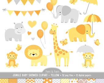 jungle animals baby shower yellow clipart baby animals clip art neutral boy girl baby