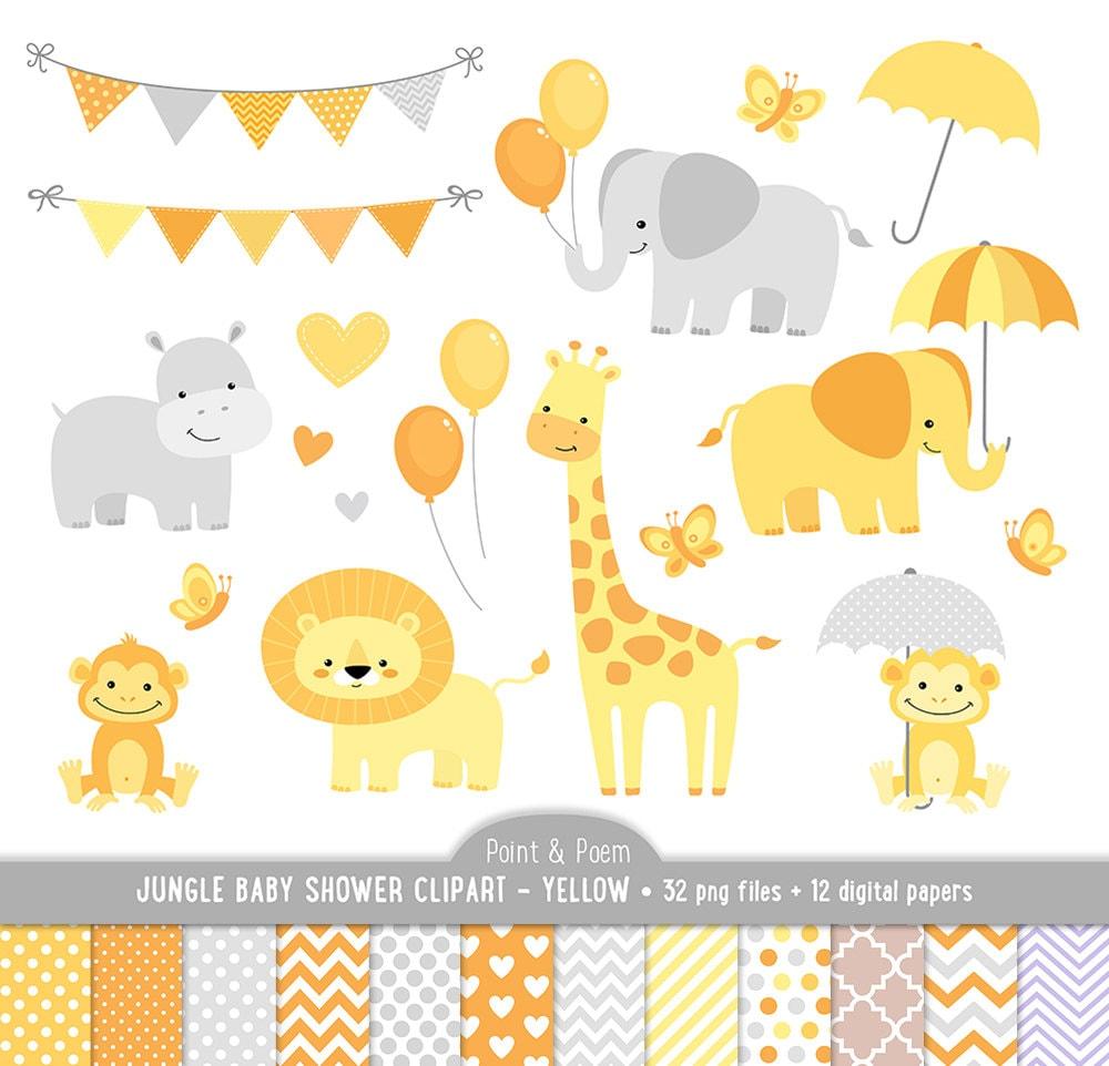 Jungle Animals Baby Shower Yellow Clipart Baby Animals