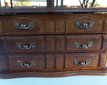 vintage wood jewelry box, 2 drawers and upper storage
