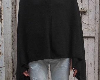 Black Wool Poncho, Women Poncho, Pashmina Poncho, Knitted Poncho, Black Cape, Black Poncho, Fall Winter Clothing