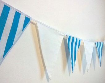 Ocean Blue and White Striped Bunting