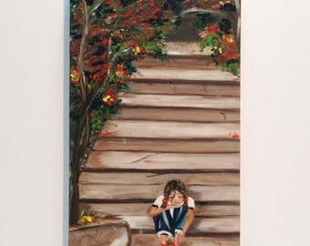 WAITING   for my FRIENDS original oil painting  of a girl with a ball, wall art,one of a kind,oil on canvas,unique piece of art, hand made