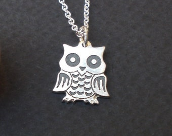 Tiny SILVER OWL NECKLACE, tiny owl necklace silver, Simple necklace, Dainty, Cute,Charm, Animal necklace, necklace for women, Free Shipping