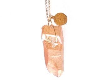 Necklace Silver 925 pendant crystal of Quartz crude metallic orange.