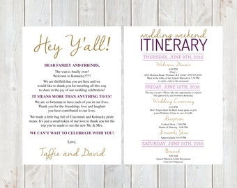 Welcome Letter Wedding Itinerary Hotel Welcome Letter