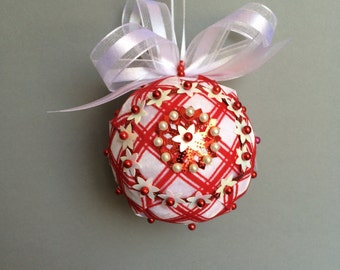 Red & White Ribbon Wrapped Sequin Christmas Ornament/Handmade
