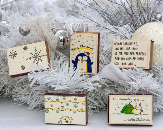 Set of 5+ Christmas Greetings Cards/ Matchbox/ Cute Holiday Card Set/ Boxed Cards/ Funny Holiday Card Box/ Discounted Assorted Christmas Set