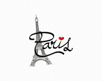 Embroidery machine of Paris and its Eiffel Tower format 4 x 4 and 5 x 7