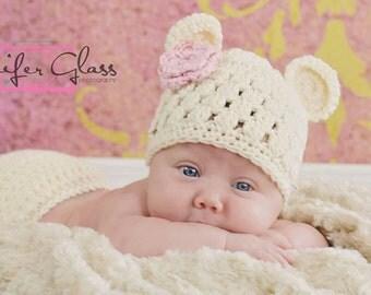 Bear Hat, Bear Beanie, Crochet Baby Hat, Baby Newborn Hat, Newborn Beanie, Baby Girl Hat, Off White Pink, Baby Girl Beanie, Newborn Prop