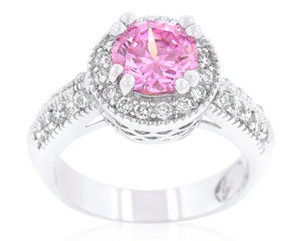 Pink Royal Halo Ring | Feminine, elegant and sophisticated. Fashioned in an elegant CZ, this ring is would be royally adored by any woman
