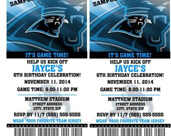 12 PER PACK Birthday Party Invitations Card Carolina Panthers Birthday Ticket Invitation Football Weddings Baby Showers Bar Mitzvahs