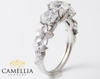 14K White Gold 3 Stone Diamond Ring Unique Engagement Ring 1CT VS Natural Diamond Ring