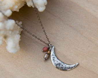 Silver Moon Necklace, Pink Necklace, Hammered Silver Plated Moon Charm, Crescent Moon Necklace, Astrology Necklace, Moon Lover Jewelry, Gift
