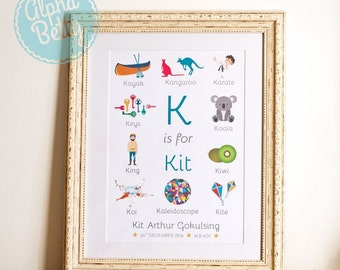 Personalised Child's Name Print, New Baby Gift, Child's Alphabet Print, Personalised Newborn Gift, Baby Name Gift, Christening Gift