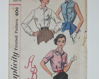 Simplicity 2195 Vintage Shirt Blouse Sewing Pattern 1950's 1957 letter transfer monogram uncut sleeveless sleeved miss size 18 12 14 bust 38