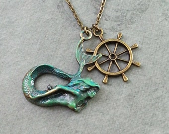 Mermaid Necklace Bronze Mermaid Jewelry Mermaid Pendant Ship Wheel Necklace Patina Necklace Greek Siren Necklace Patina Jewelry Blue Mermaid
