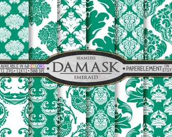 Emerald Green Damask Scrapbook Digital Paper Pack  - Printable Backdrops - Instant Download