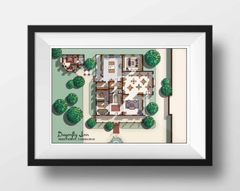 Tv floor plans home portraits and more by drawhouse on etsy for Gossip girl apartment floor plans