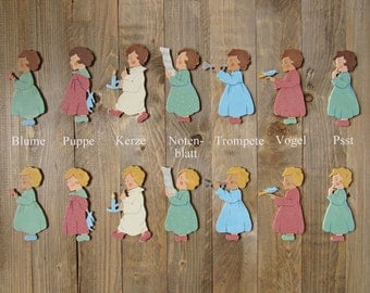 gift idea for grandchild painted wooden child figure in vintage style for nursery room handmade guardian angel or good luck charm