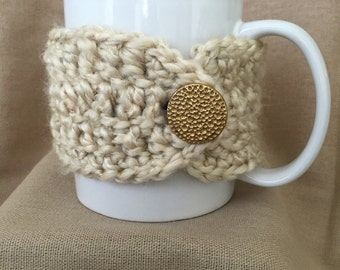 Cream; Tan; Fuzzy Handmade Crochet Coffee Mug Cozy
