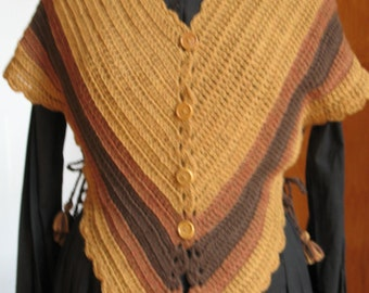 Amber and brown striped Hug-me-Tight, Crochet Vest for Historical Dress