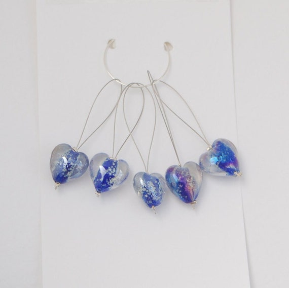 Knitting Markers Beads : Knitting stitch markers with glass heart beads pack of