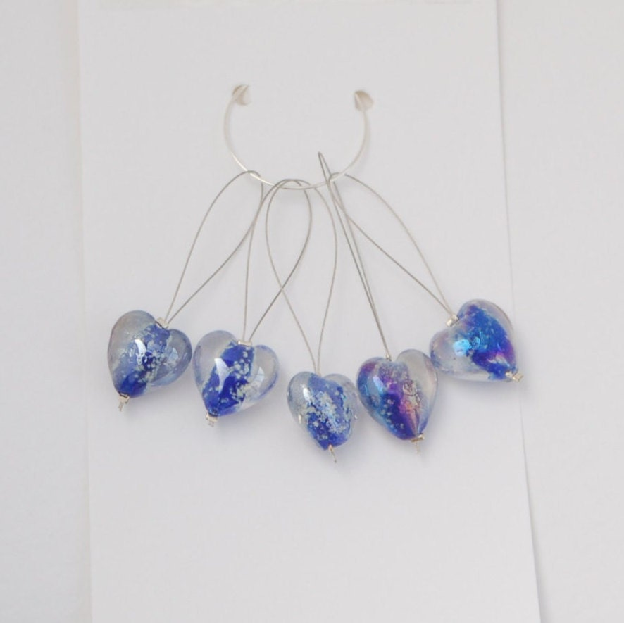 Knitting stitch markers with glass heart beads pack of 5.