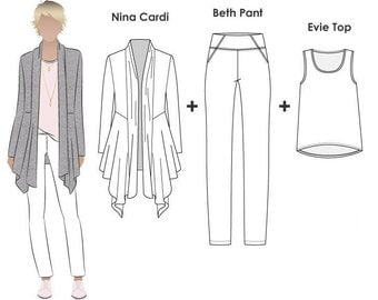Style Arc Pattern Bundle - Nina, Evie, Beth - Sizes 10, 12 & 14 - Women's Pant, Top and Jacket PDF patterns for printing at home