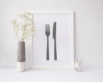 Knife & Fork Drawing Print