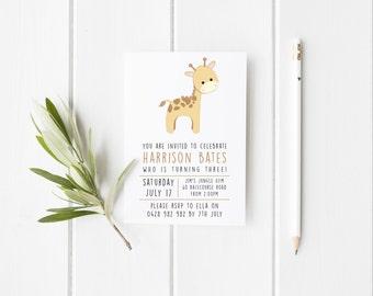 Kids Birthday Invitation - Giraffe Printable Design