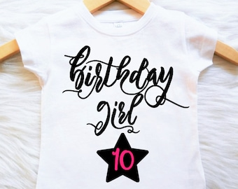 ANY AGE Birthday Shirt Customizable Colors  first sceong third fourth fifth sixth seventh eight ninth tenth eleventh twelvth thirteen girls
