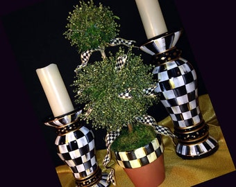 Hand Made Painted Topiary Black & White Check Tree