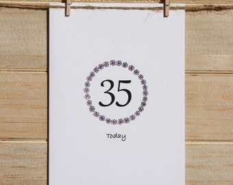 Happy 35th Birthday, 35 today birthday card, Age card, Personalized color age card, Happy Birthday handmade card