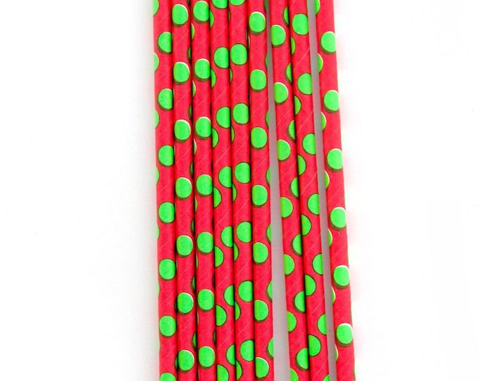 CLOSEOUT SALE Red and Green Large Polka Dot Straws 15 Count