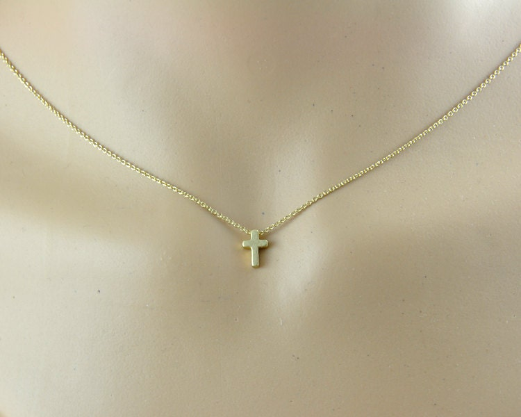 tiny gold cross necklace simple dainty jewelry by